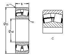 25,4 mm x 56,896 mm x 19,837 mm Basic static load rating (C0) AST 24136C Spherical Roller Bearings