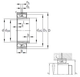 70 mm x 125 mm x 31 mm r2 min. FAG 23972-K-MB+AH3972G Spherical Roller Bearings