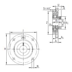 75 mm x 115 mm x 20 mm (Oil) Lubrication Speed INA PME25-N Bearing Units