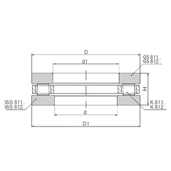25,4 mm x 50,8 mm x 12,7 mm Size (mm) ISO 81160 Thrust Roller Bearings