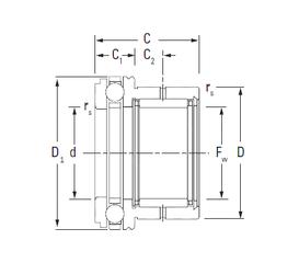 50 mm x 90 mm x 44,3 mm Basic dynamic load rating (C) KOYO NAXK35 Complex Bearings