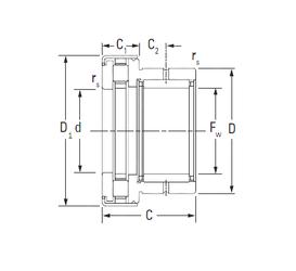 90 mm x 140 mm x 24 mm dn KOYO NAXR45Z.TN Complex Bearings