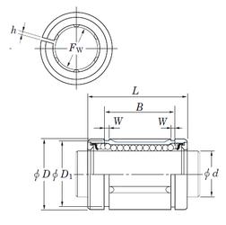 Max. shaft corner radius, or 45 deg. chamfer (ch1) KOYO SDM25AJ Linear Bearings