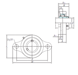 70 mm x 125 mm x 24 mm (Grease) Lubrication Speed KOYO UCSFL205H1S6 Bearing Units