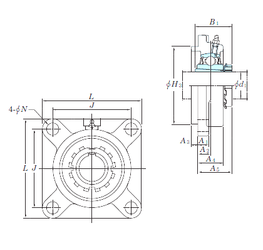 11,112 mm x 28,575 mm x 9,525 mm Outer Diameter (mm) KOYO UKFS308 Bearing Units