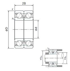 r1,2 min. NACHI 7016CDB Angular Contact Ball Bearings