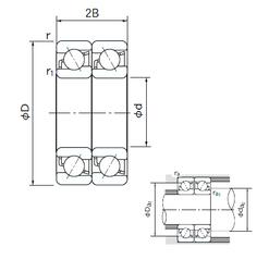 61,912 mm x 136,525 mm x 46,038 mm d NACHI 7222DT Angular Contact Ball Bearings