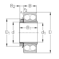 480 mm x 790 mm x 308 mm Basic dynamic load rating (C) NKE 2205-K+H305 Self Aligning Ball Bearings