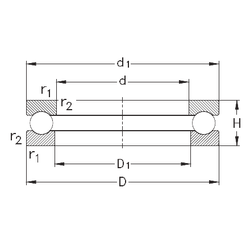2,5 mm x 8 mm x 2,5 mm C1 NKE 51136-MP Thrust Ball Bearings