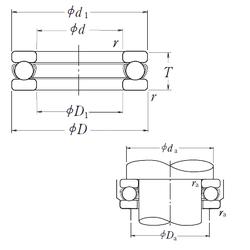 300 mm x 420 mm x 56 mm Snap Ring NSK 51317 Thrust Ball Bearings