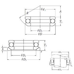 150 mm x 210 mm x 60 mm Outer Diameter (mm) NSK 53224U Thrust Ball Bearings