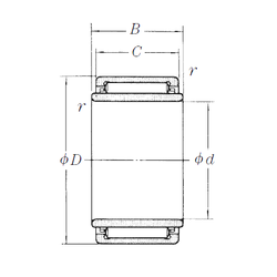 Bore Diameter (mm) NSK LM405020-1 Needle Roller Bearings