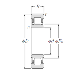 65 mm x 90 mm x 45 mm r5 min. NTN NU1060 Cylindrical Roller Bearings