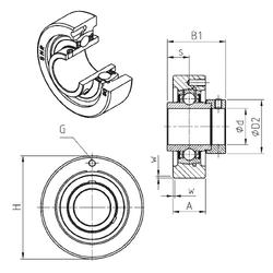 47,625 mm x 101,6 mm x 36,068 mm rb(max) SNR EXC201 Bearing Units