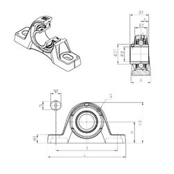 100 mm x 215 mm x 47 mm Bearing number SNR UCPLE203 Bearing Units