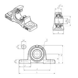 384,175 mm x 546,1 mm x 104,775 mm Bearing number SNR UKP208H Bearing Units