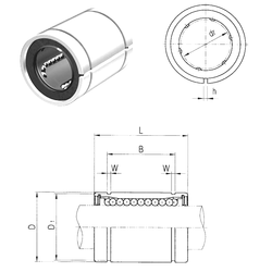 55 mm x 90 mm x 18 mm Calculation factor – f2D Samick LM35UUAJ Linear Bearings