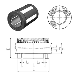 60 mm x 110 mm x 22 mm Bore Diameter (mm) Samick LMBS20 Linear Bearings