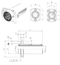 160 mm x 290 mm x 48 mm (Grease) Lubrication Speed Samick LMHP12L Linear Bearings