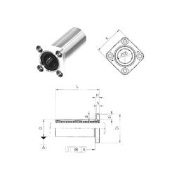 400 mm x 500 mm x 46 mm Bore Diameter (mm) Samick LMK16L Linear Bearings