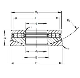 Shaft Size (ds) – 105 -0.120 / -0.155 Timken 70TPS131 Thrust Roller Bearings